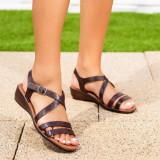 Sandale cu talpa ortopedica dama maro Holistia