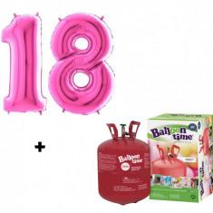 Butelie cu heliu 0.25 mc + baloane cifra 18 fuchsia dimensiune 101 cm