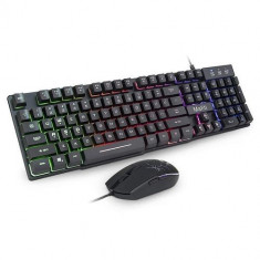 Kit tastatura si mouse Mafiti RK101, Gaming, USB, Iluminare LED (Negru)