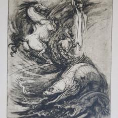 Compozitie, gravura Marcel Chirnoaga, EA, II din V, semnata dreapta jos, 33x42cm
