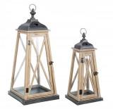 Set 2 felinare din lemn natur si metal gri Heart 20 cm x 20 cm x 48 h; 30 cm x 30 cm x 68 h Elegant DecoLux, Bizzotto