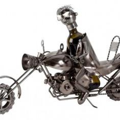 Suport pentru sticla vin model motociclist H41cm L 61cm