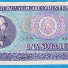 (8) BANCNOTA ROMANIA - 100 LEI 1966, PORTRET NICOLAE BALCESCU. STARE FOARTE BUNA