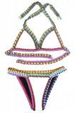 Cumpara ieftin SW860-211 Costum de baie multicolor, cu neopren si model crosetat