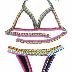SW860-211 Costum de baie multicolor, cu neopren si model crosetat