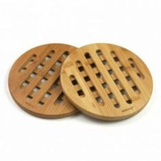Set 2 suporturi pentru vase fierbinti KingHoff, bambus, forma rotunda, KH-1215, Maro