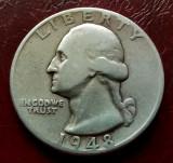 USA America - Un sfert de Dolar 1948 ( Quarter Dollar Washington ) Argint, America de Nord