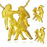 Set auriu din oțel, cercei și pandantiv, semnul zodiacal Gemeni