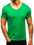 Tricou cu decolteu bărbați verde Bolf AK888A