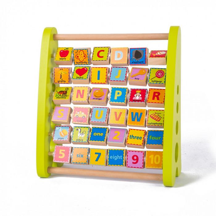 Alfabetar din lemn cu abac, litere si imagini in limba engleza.