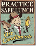 Placa metalica - Safe Lunch - Use Condiments - 30x40 cm