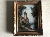 Pictura miniaturala franceza, ulei pe lemn,rama din lemn