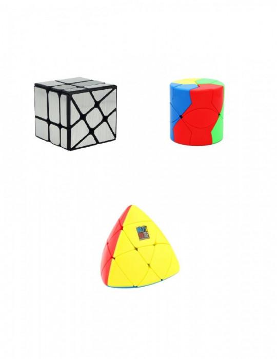 Set 3 MoYu Cuburi Rubik- Wind Mirror Argintiu, Barrel Redi, Mastermorphix