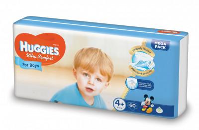 Scutece Huggies Ultra Confort Mega Pack 4+, Baieti, 10-16 kg, 60 buc foto