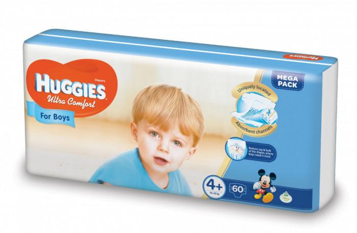 Scutece Huggies Ultra Confort Mega Pack 4+, Baieti, 10-16 kg, 60 buc