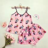 Pijama dama ieftina primavara-vara roz din satin lucios cu imprimeu MK