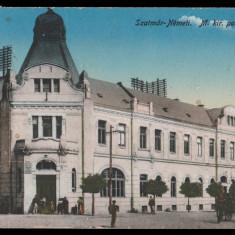 1910 Romania CP Satu Mare, Posta Centrala, caruta, animatie, circulata in 1949, Printata