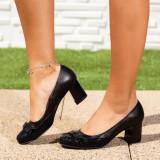 Pantofi Piele cu toc dama negre Klimona
