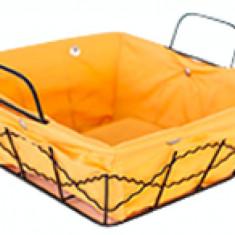 Cos servire paine patrat din metal cu panza, 25 x 20 x 8 cm culoare galbena, 012096