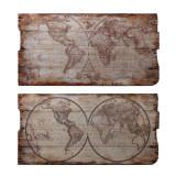 Set doua picturi vintage pe lemn cu harta lumii SK-58, Istorice, Acrilic, Avangardism