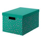 Cutie cu capac pentru depozitare, 25 x 35 x 20 cm, model buline