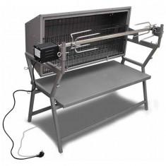 Grătar din fier și oțel inoxidabil cu rotisor
