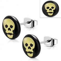 Cercei din oțel, cerc negru cu craniu galben