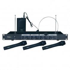 Cumpara ieftin Set 4 microfoane wireless Ibiza VHF4, 3 de mana si 1 casca