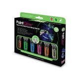 Kit vopsea bodypainting neon UV, 6 culori, cu lanterna UV, PaintGlow