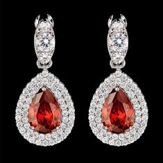 Cercei placati cu Aur 18K si Diamante, Artemis Platinum & Red