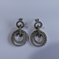 Cercei din aur alb 14k cu diamante -9210