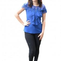 Bluza dama Luna ,aplicatii de dantela si strasuri,nuanta de albastru
