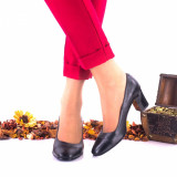 Pantofi dama din piele naturala, negri toc 5cm - NAA3NP, 35 - 40, Negru