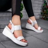 Sandale dama cu platforma argintii Selinia