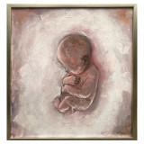 Portret fetita nou nascuta, tablou cu bebelus Pictura roz 43x46 cm