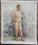 Nud// acuarela pe hartie, nesemnata, Peisaje, Avangardism