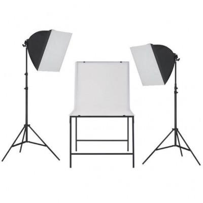 Kit studio foto cu iluminare softbox și masă foto foto