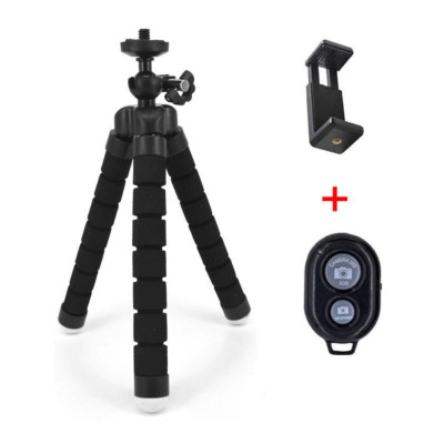 Suport telefon + mini trepied flexibil + telecomanda pentru Samsung S7 S8 S9 S10 foto