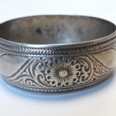 BRATARA argint ETNICA TRIBALA tip catusa LATA motiv FLORAL vintage MASIVA rara