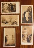 5 carti postale vechi litografiate DANTE - DIVINA COMEDIE (necirculate, Italia)