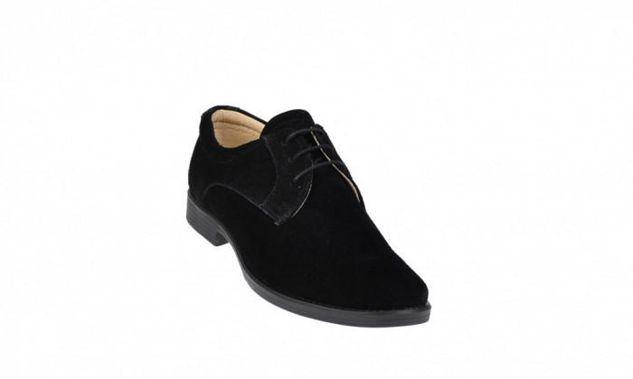 Oferta marimea 36 - Pantofi negri casual din piele intoarsa cu siret - LP102NS