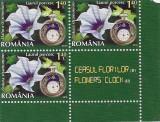 2013- Ceasul florilor II val de 1,40 lei bloc de 3 timbre  +vigneta coala posta, Flora, Nestampilat