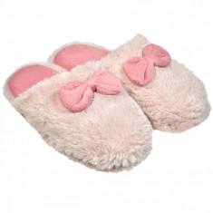 Papuci imblaniti de dama, model cu funda, marime 40-41, alb/roz