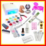 Cumpara ieftin Kit Unghii False Gel Lampa UV, 12 Geluri UV Set Manichiura Tipsuri Set15 Pensule