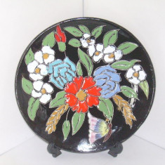 Farfurie perete decorativa, Studio-Art, ceramica emailata cloisonne hand made