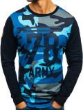 Cumpara ieftin Bluză fără glugă cu imprimeu pentru bărbat camuflaj-bleumarin Bolf 0746