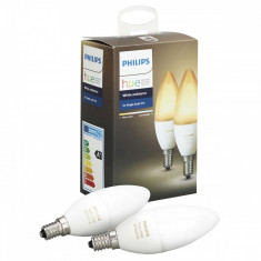 Set 2 becuri inteligente LED Philips Hue Ambianta alba, E14, 6W