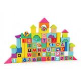 Cuburi pentru construit Topbright, lemn, 28 x 20 cm, 12 luni+, 100 piese, Multicolor