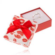 Cutiuță de cadou pentru bijuterii în roșu și alb, imprimeuri de buze, fundiță