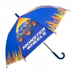 Umbrela pentru baieti, automata Monster Wheels 80 cm Multicolor
